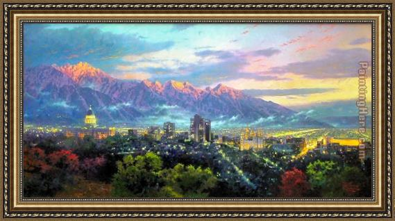 Thomas Kinkade Salt Lake, City of Lights Framed Painting