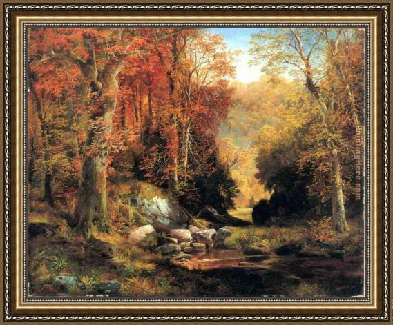 Thomas Moran Cresheim Glen, Wissahickon, Autumn Framed Painting