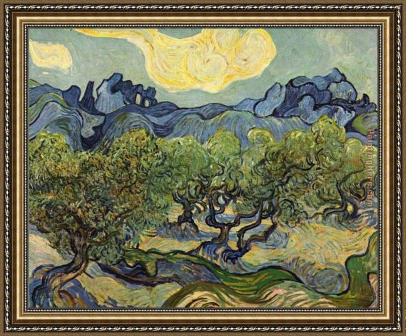 Vincent van Gogh Landscape with Olive Trees Framed Painting