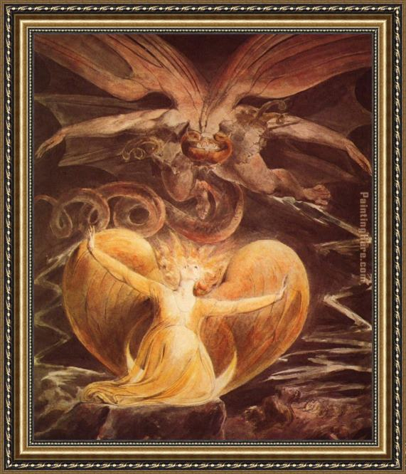 William Blake The Great Red Dragon and the Woman Clothed with Sun Framed Painting