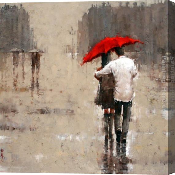 2011 Red umbrella Stretched Canvas Painting