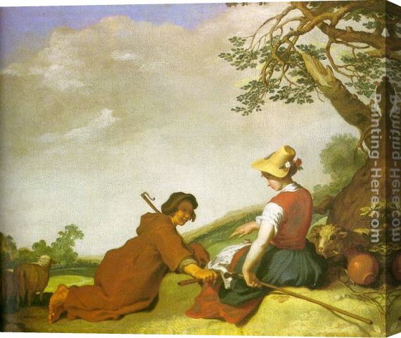 Abraham Bloemaert Shepherd and Sherpherdess Stretched Canvas Painting