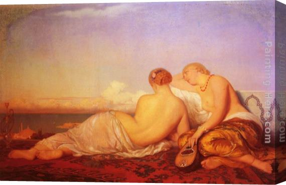 Antoine Auguste Ernest Hebert Les Deux Odalisques Contemplant Le Bosphore Stretched Canvas Painting