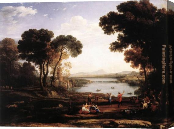 Claude Lorrain Landscape with Dancing Figures The Mill Stretched Canvas Painting
