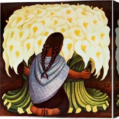Diego Rivera The Flower Seller Stretched Canvas Painting