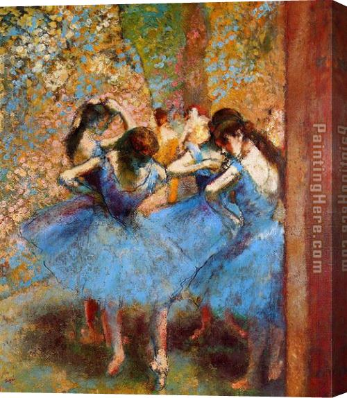 Edgar Degas Dancers in Blue Stretched Canvas Painting
