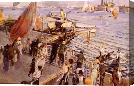 Ettore Tito The Grand Canal, Venice Stretched Canvas Painting