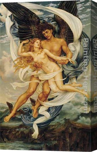 Evelyn de Morgan Boreas and Orietyia Stretched Canvas Painting