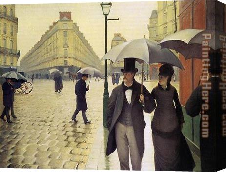 Gustave Caillebotte Paris Street Rainy Weather Stretched Canvas Painting