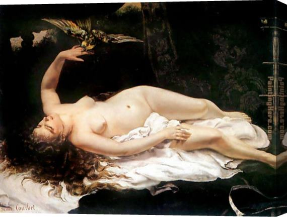 Gustave Courbet Woman with a Parrot Stretched Canvas Painting