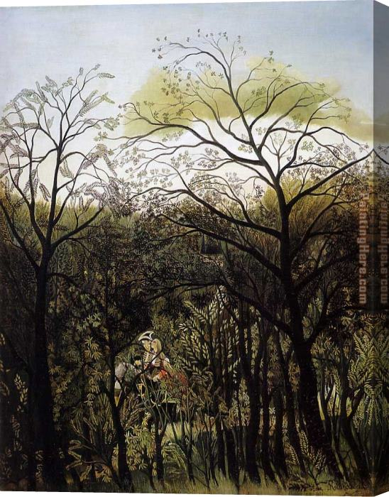 Henri Rousseau Rendezvous in the Forest Stretched Canvas Painting
