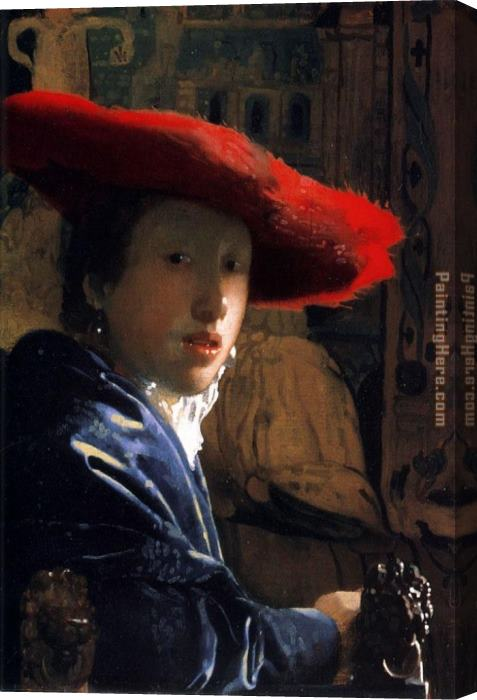 Johannes Vermeer Girl with a Red Hat Stretched Canvas Painting