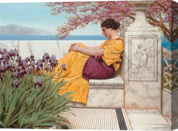 John William Godward Under the Blossom that Hangs on the Bough Stretched Canvas Painting