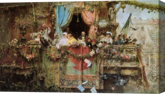Jose Benlliure y Gil A Carnival In Rome Stretched Canvas Painting