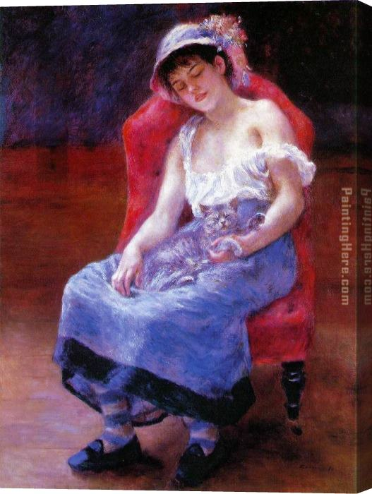 Pierre Auguste Renoir Sleeping Girl Stretched Canvas Painting