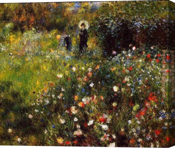 Pierre Auguste Renoir Summer Landscape Aka Woman With A Parasol In A Garden Stretched Canvas Painting