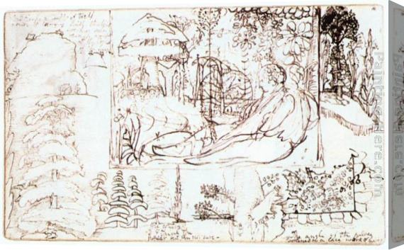 Samuel Palmer Sketchbook, folio 5 verso Stretched Canvas Painting