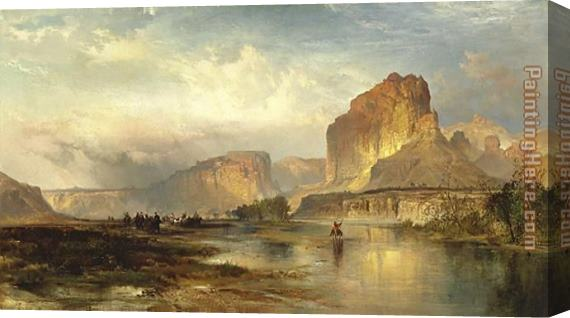 Thomas Moran Cliffs of Green River Stretched Canvas Painting