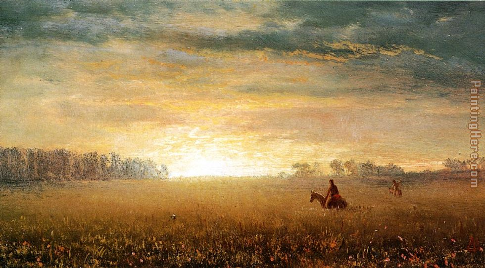 Albert Bierstadt Sunset of the Prairies Art Painting
