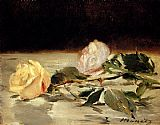 Two Roses On A Tablecloth by Edouard Manet