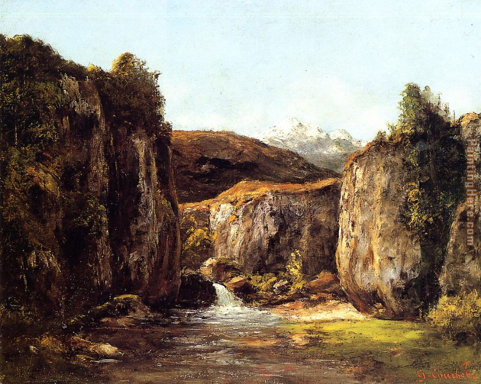 Landscape The Source among the Rocks of the Doubs painting - Gustave Courbet Landscape The Source among the Rocks of the Doubs art painting