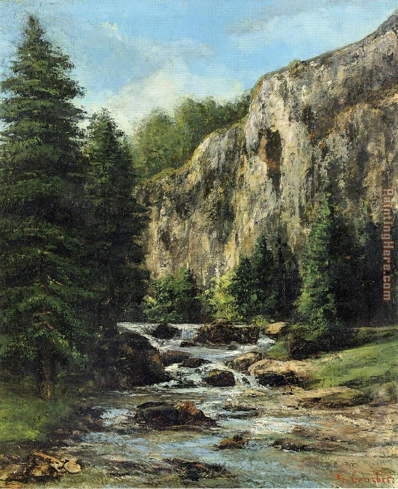 Study for 'Landscape with Waterfall painting - Gustave Courbet Study for 'Landscape with Waterfall art painting