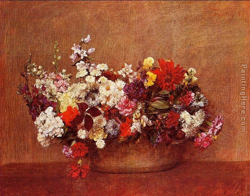 Flowers in a Bowl painting - Henri Fantin-Latour Flowers in a Bowl art painting