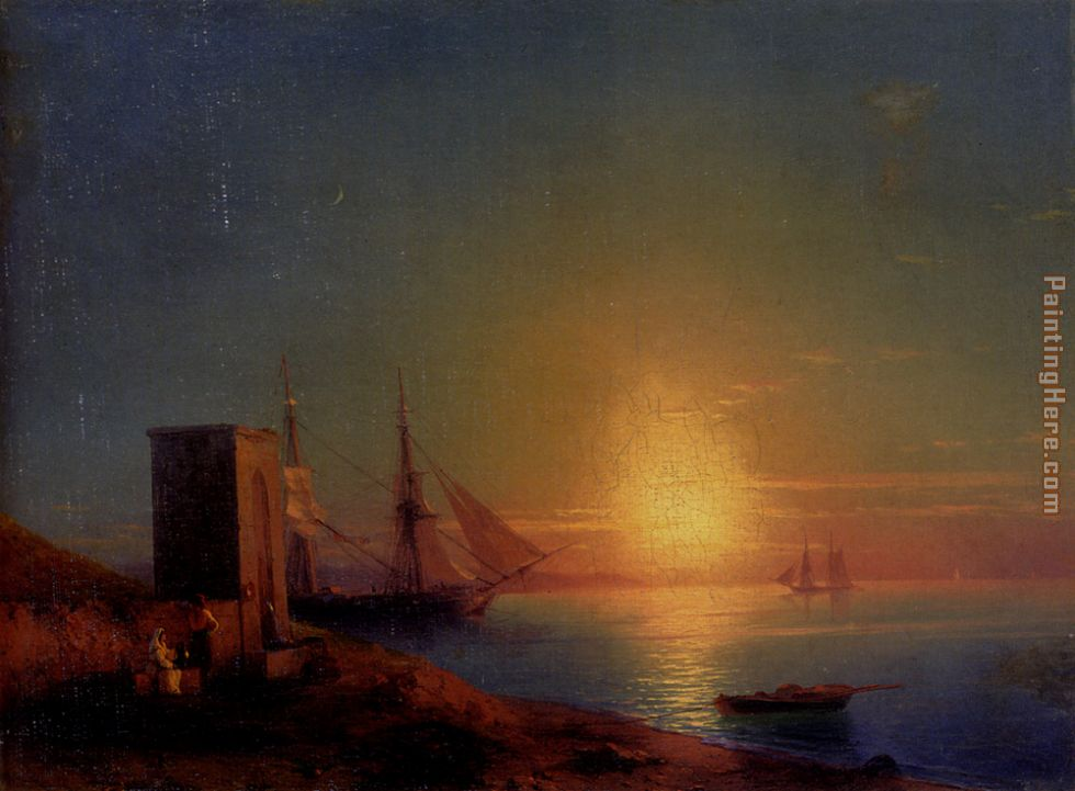 Figures In A Coastal Landscape At Sunset painting - Ivan Constantinovich Aivazovsky Figures In A Coastal Landscape At Sunset art painting