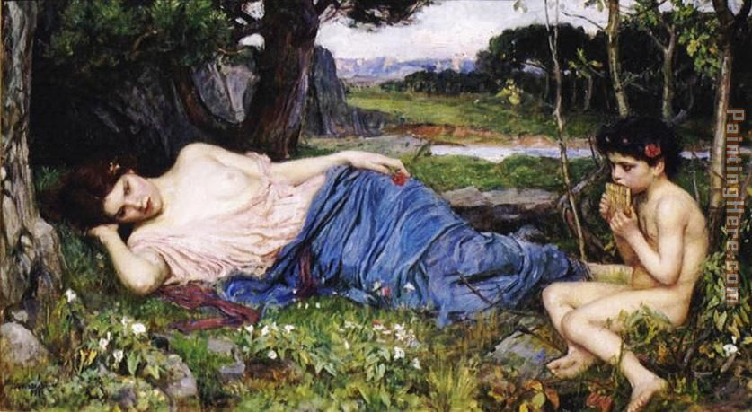 Listening to His Sweet Pipings painting - John William Waterhouse Listening to His Sweet Pipings art painting