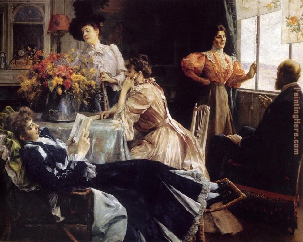 At Home painting - Julius LeBlanc Stewart At Home art painting