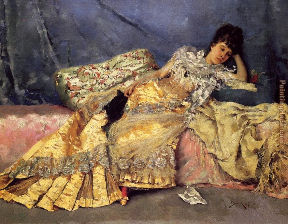Lady On A Pink Divan painting - Julius LeBlanc Stewart Lady On A Pink Divan art painting