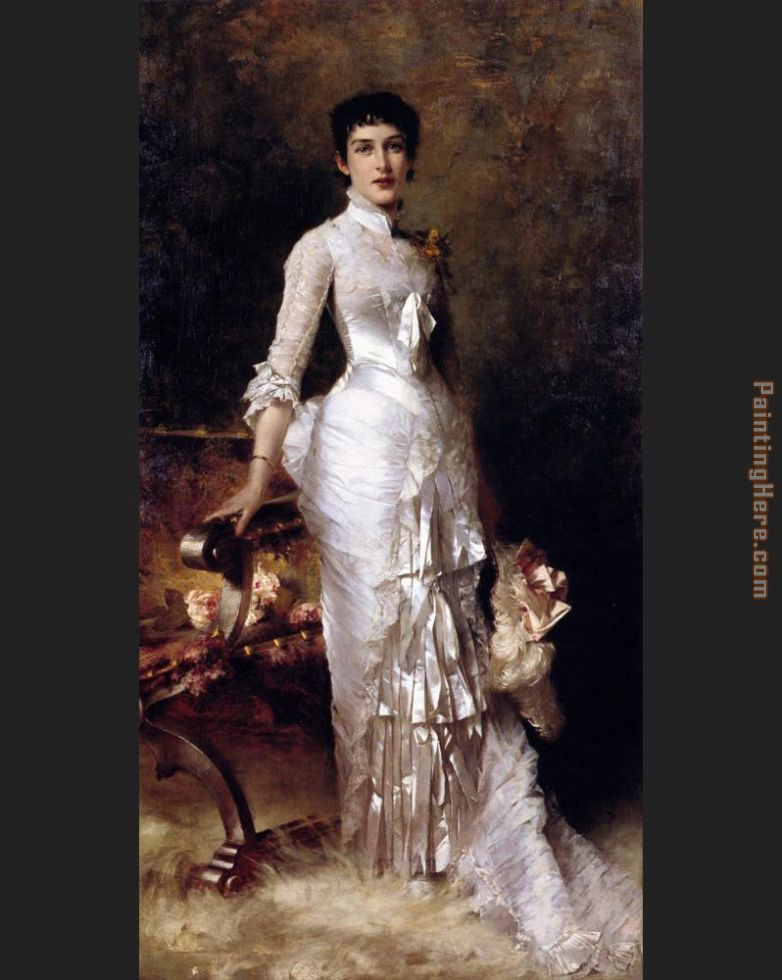 Julius LeBlanc Stewart Young Beauty In A White Dress Art Painting