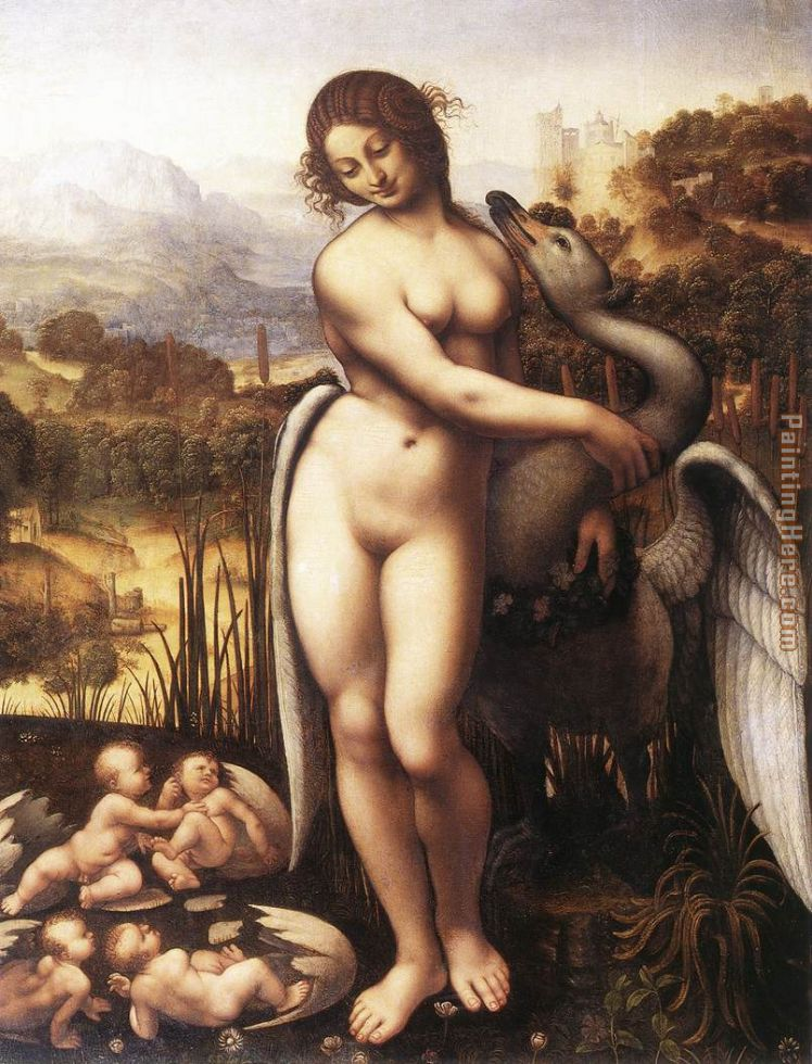 Leda and the Swan painting - Leonardo da Vinci Leda and the Swan art painting