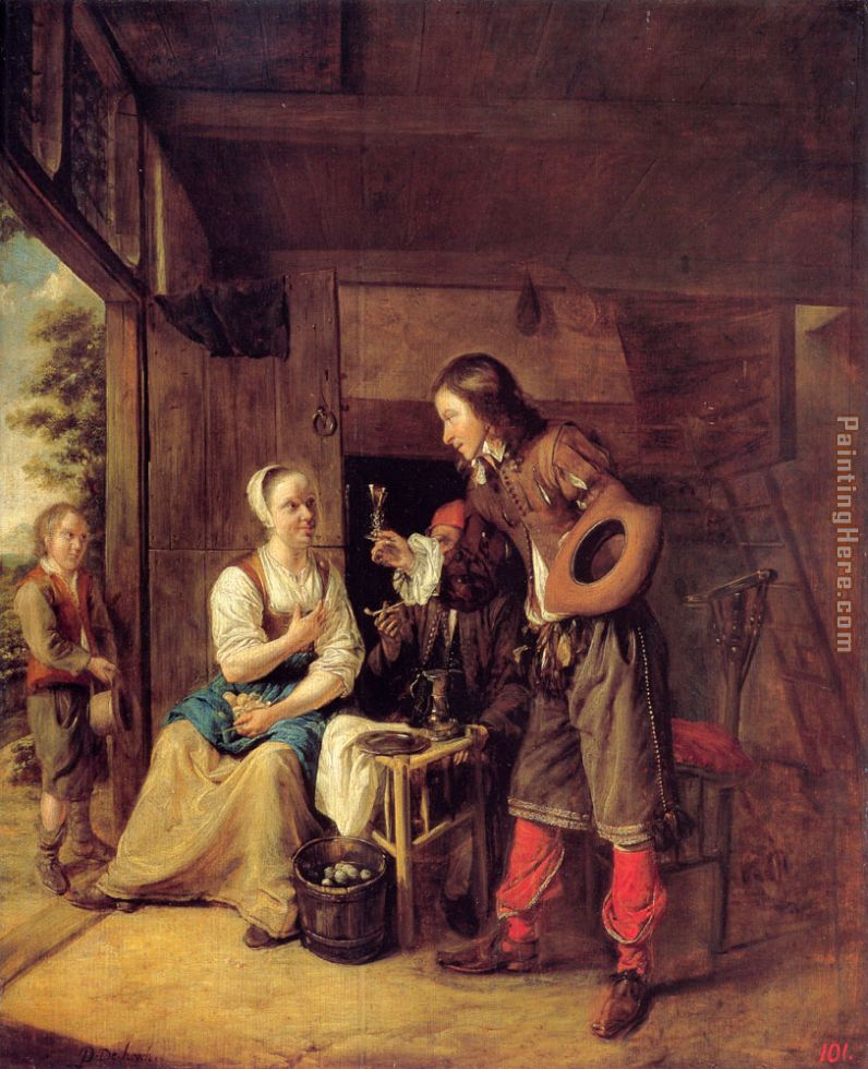 A Man Offering a Glass of Wine to a Woman painting - Pieter de Hooch A Man Offering a Glass of Wine to a Woman art painting