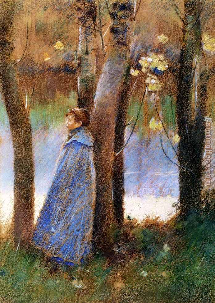 Figure in a Landscape painting - Theodore Robinson Figure in a Landscape art painting