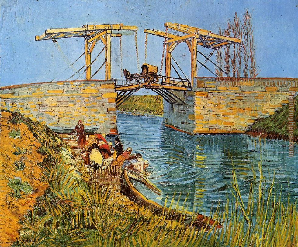 The Langlois Bridge at Arles with Women Washing painting - Vincent van Gogh The Langlois Bridge at Arles with Women Washing art painting