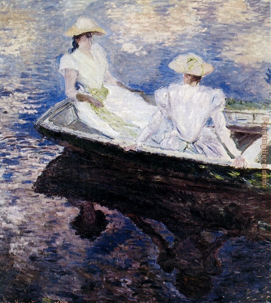 Girls In A Boat painting - Claude Monet Girls In A Boat art painting