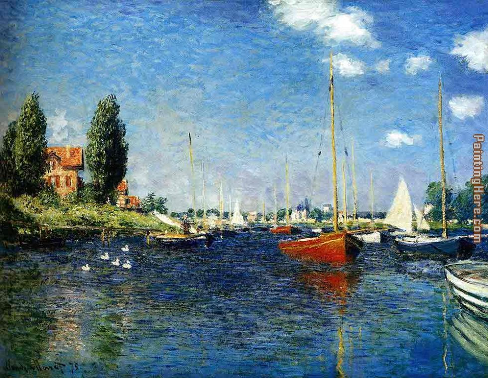 Claude Monet The Red Boats Argenteuil Art Painting
